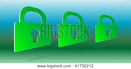 3D Green Padlock Set On Abstract Background
