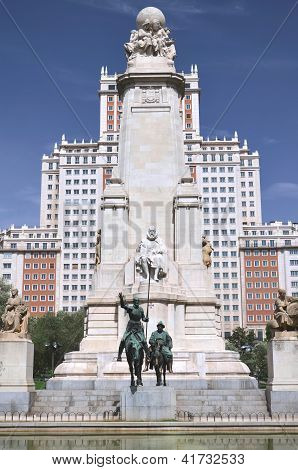 The monument of Miguel Cervantes on Plaza de Espana in Madrid, Spain.