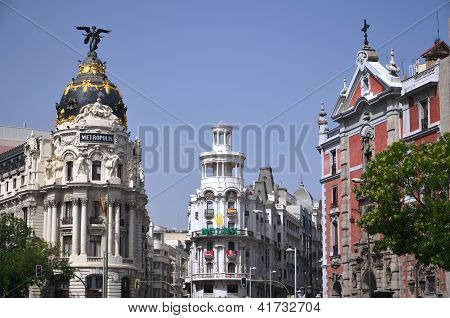 Metropolis building situated on Gran Via street in Madrid, Spain