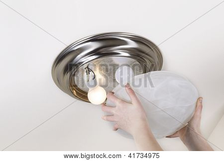 Preparing To Replace Light Bulb