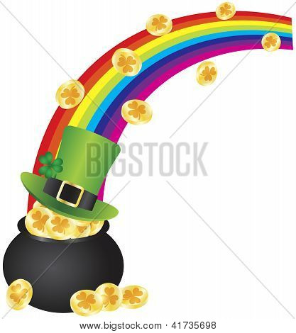 St Patricks Leprechaun Hat Rainbow On Pot Of Gold