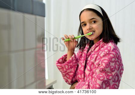 Little Hispanic Girl Oral Hygiene