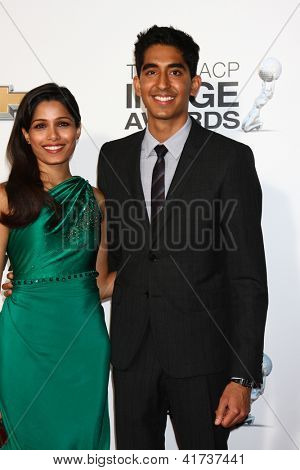 LOS ANGELES - FEB 1:  Freida Pinto. Dev Patel arrives at the 44th NAACP Image Awards at the Shrine Auditorium on February 1, 2013 in Los Angeles, CA.