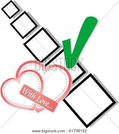 Valentine Hearts And Check List Symbol