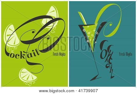 Mojito - Fresh Cocktail With Lime And Mint. Vector Illustration.