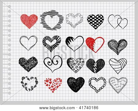 Set hearts drawn by hand on a sheet of paper into the cage