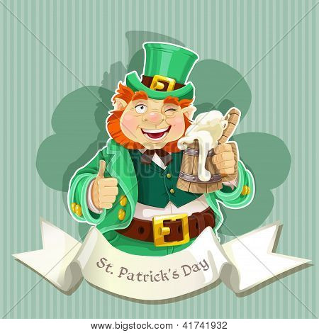 Cute fat Leprechaun with a pot of ale foam. Poster St. Patrick's Day