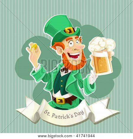 Cute Leprechaun with a beer - Poster