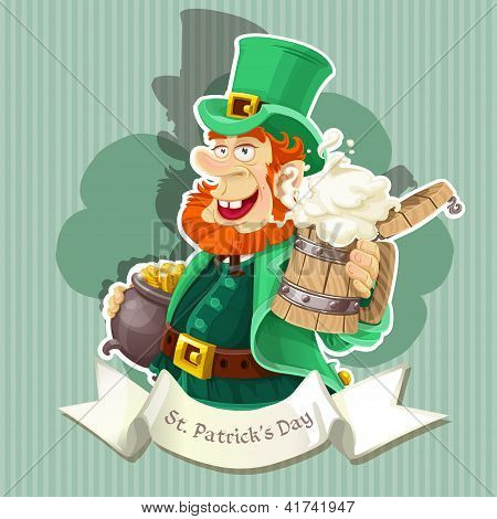 Cute Leprechaun with beer and pot of gold celebrating St Patrick's Day poster