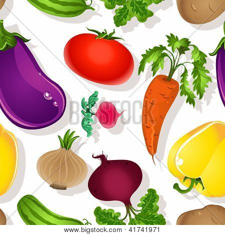 Seamless pattern of bright vegetables on a white background - tomato, beet, eggplant, cucumber