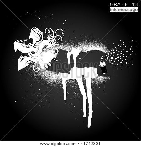 Graffiti ink frame. Artistic grunge banner design, funky vector element for hip hop background. Urban art.