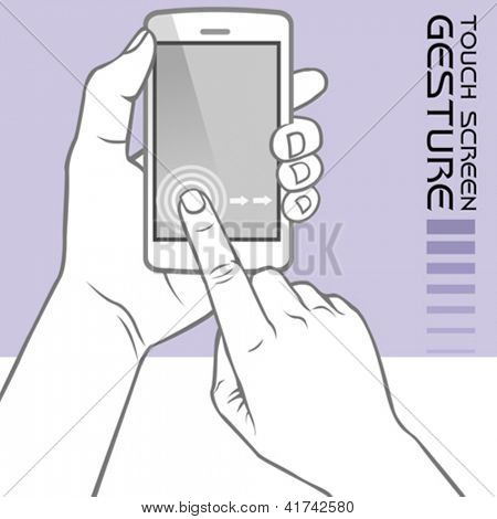 Commonly Used Touch Screen Gestures on Mobile Phone : Slide