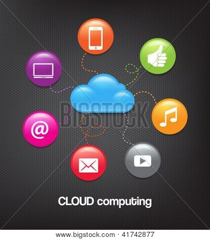 Glossy icons representing cloud computing and computer connectivity