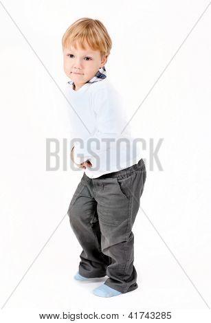 dancing happy children kid boy isolated on white