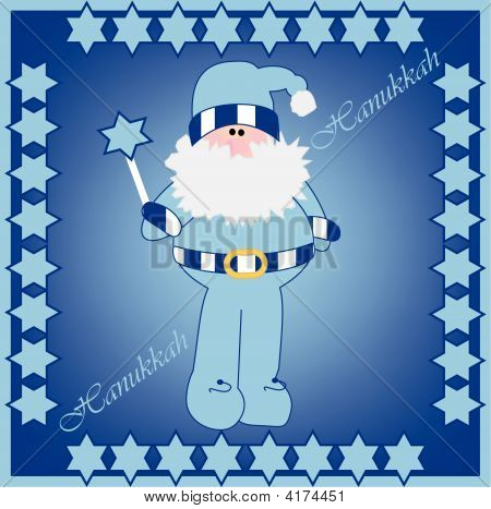 Vector Illustration Of Hanukkah Harry In Card Design