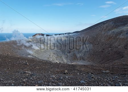 Grand (Fossa) crater of Vulcano island near Sicily Italy