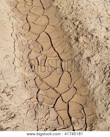 Texture of furrow with cracked brown ground