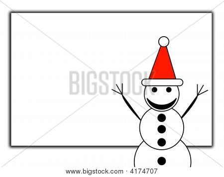 Happy Snowman With Blank Sign