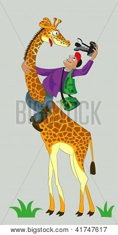 Giraffe And Photographer