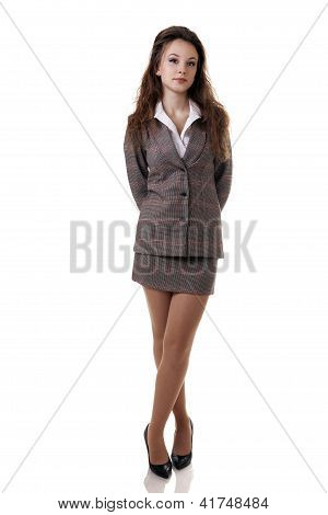 Beautiful Businesswoman Full Lenght Isolated On White