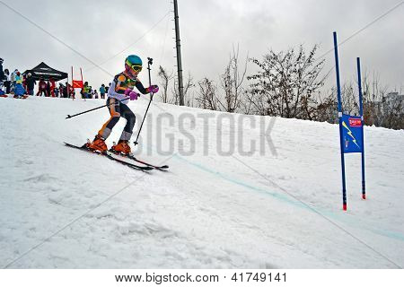Kiev - Feb 01: Young Ski Sportsman In Protasov Yar During Ski Competition Organized By Foxtrot Super