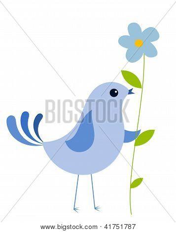 Blue Bird With Flower