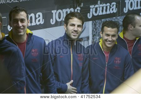 VALENCIA - FEBRUARY 3: Left Sergi Busquets, center Cesc Fabregas and Pedro during Spanish League match between Valencia CF and FC Barcelona, on February 3, 2013, in Mestalla Stadium, Valencia, Spain