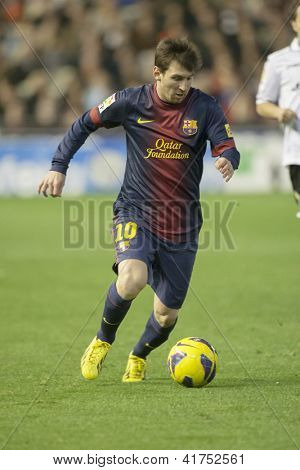 VALENCIA - FEBRUARY 3: Leo Messi during Spanish League match between Valencia CF and FC Barcelona, on February 3, 2013, in Mestalla Stadium, Valencia, Spain