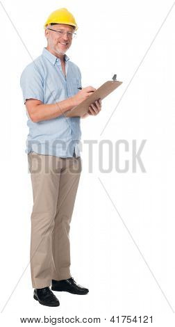 Mature contractor with hardhat and clipboard isolated on white background