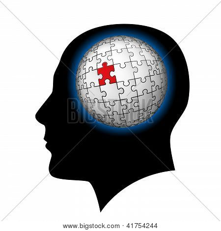 The man with puzzle sphere in the head.