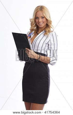 Happy business assistant in studio