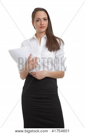 Cute businesswomen holding documents
