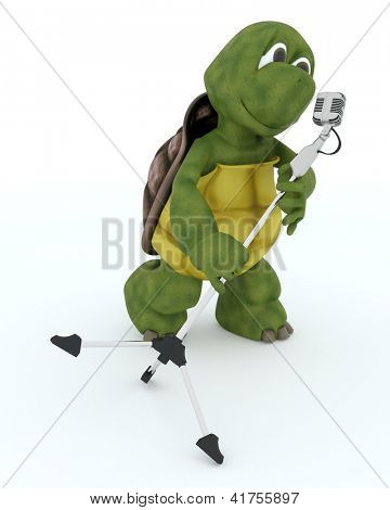 3D render of a tortoise singing into a retro microphone
