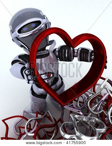 3D render of a Robot with heart charm