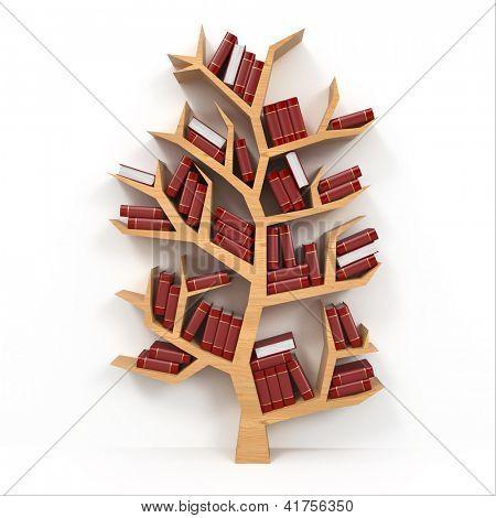 Tree of knowledge. Bookshelf on white background. 3d