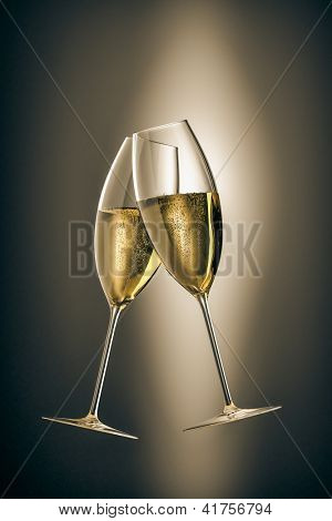 An image of two glasses of sparkling wine