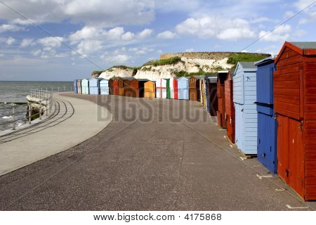 Colorful Seaside Promenade Beach Huts