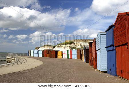 Colorful Seaside Promenade Beach Huts