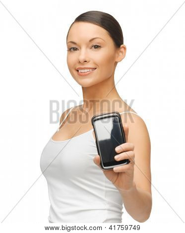 bright picture of beautiful woman with smartphone