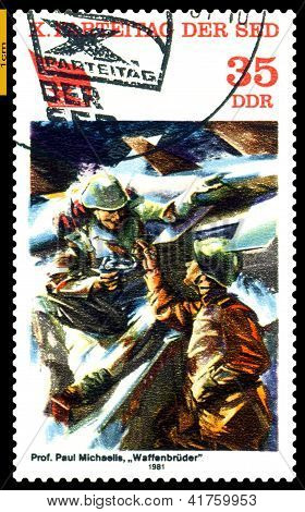 Vintage Postage Stamp.  Brotherhood In Arms.