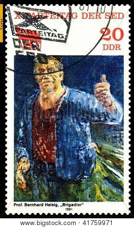 Vintage Postage Stamp.  Worker.