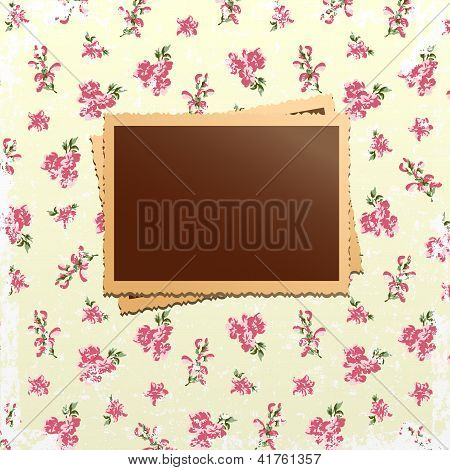 Photo Cards On Shabby Chic Background