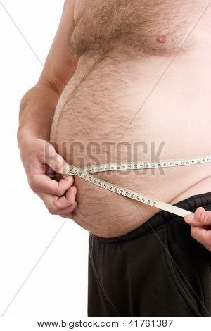 Over Weight Male With Measuring Tape