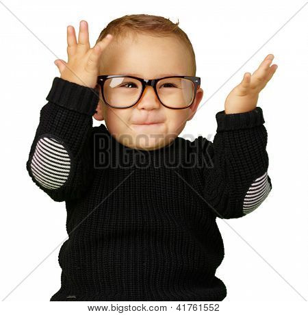 Happy Baby Boy Wearing Eye Glasses Isolated On White Background