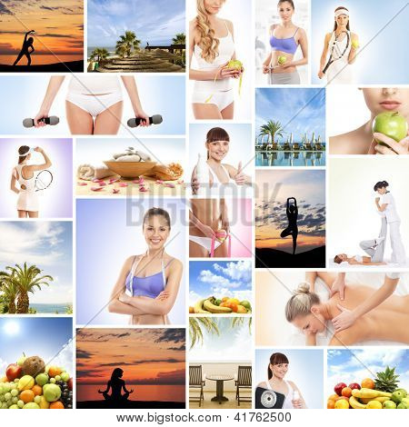Healthy lifestyle: collage made of different elements