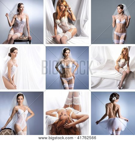 Collage with a different bridal lingerie