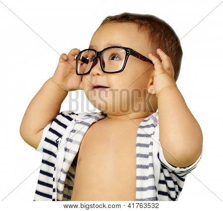 Portrait Of Baby Boy Wearing Eyeglasses Isolated On White Background