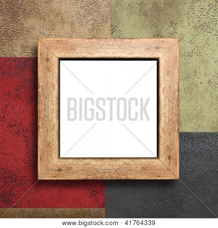 Empty wooden frame on the wall