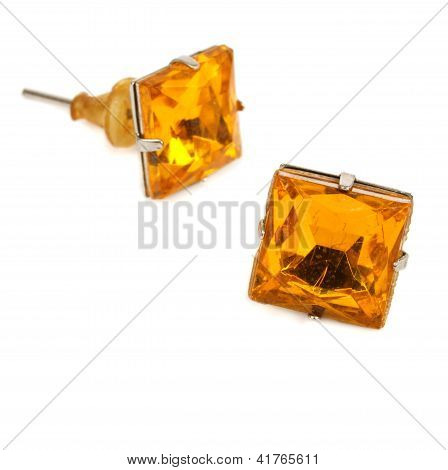 Earrings In Yellow Glass