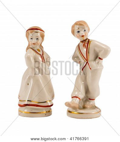 Two Ceramic Toy Decor Dancers Boy Girl On White